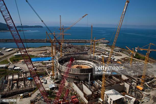 Cranes in operation at construction of Angra 3 Nuclear Plant