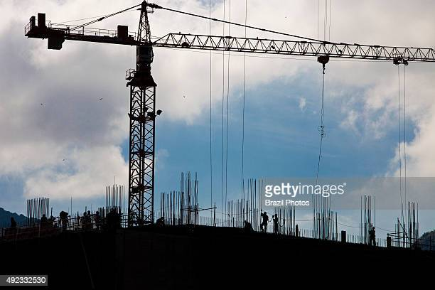 Cranes in operation at the construction of Angra 3 Nuclear Plant Angra dos Reis