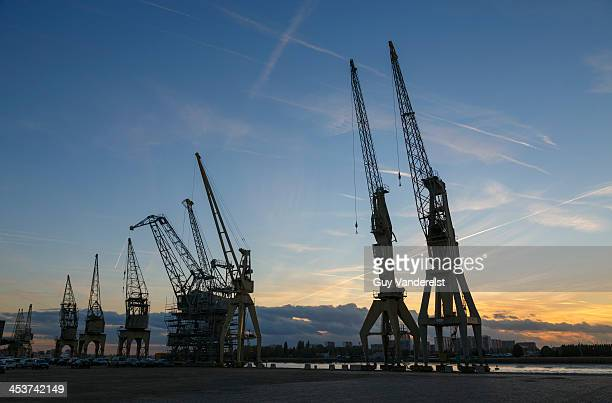 Cranes in the Port of Antwerp along river Scheldt