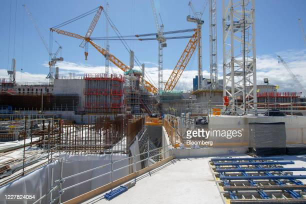 Cranes including the world's biggest crane nicknamed 'Big Carl' and put together by Sarens NV stand on the construction project for Hinkley Point C...