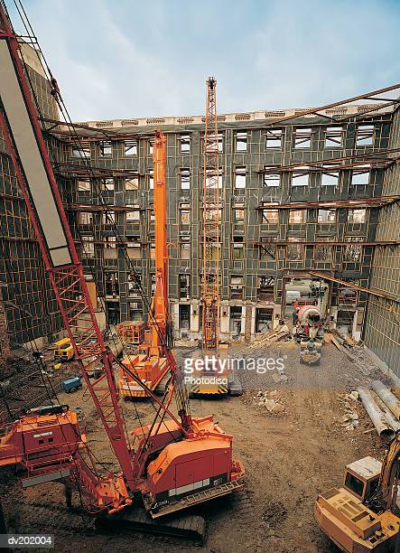 Cranes inside of building structure