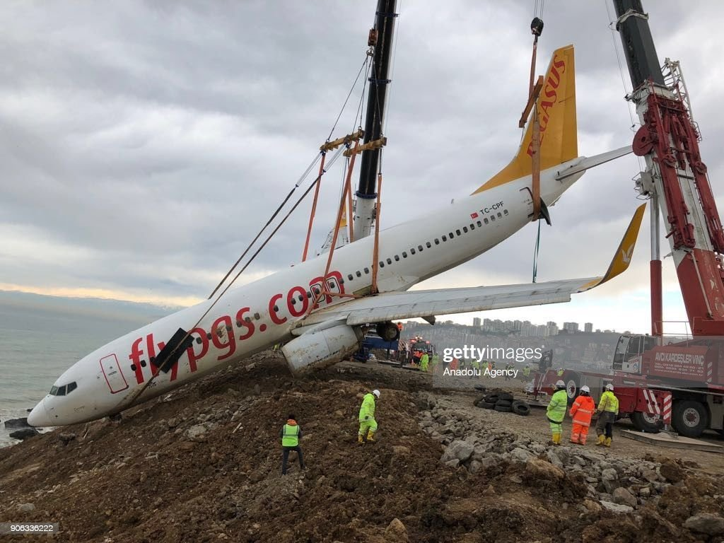 Pegasus Airplane Retrieved From Cliff At Turkey's Trabzon Airport