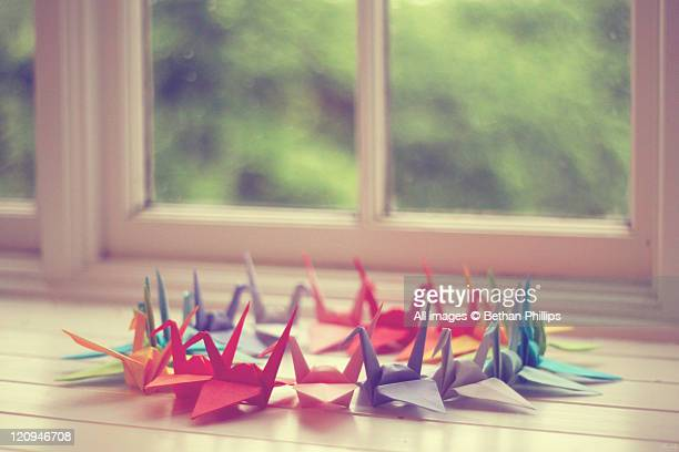 Cranes made with colored paper