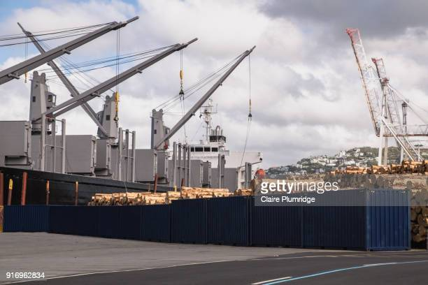 cranes next to logging shipyard in wellington, new zealand - claire plumridge stock pictures, royalty-free photos & images