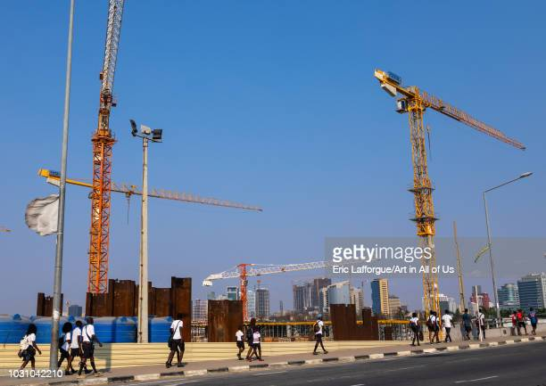 Cranes on a construction site Luanda Province Luanda Angola on July 21 2018 in Luanda Angola