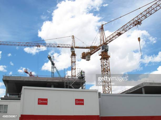 Cranes on construction of the new operational headquarters of the bank Bilbao Vizcaya Argentaria in Madrid by the construction company Acciona Spain