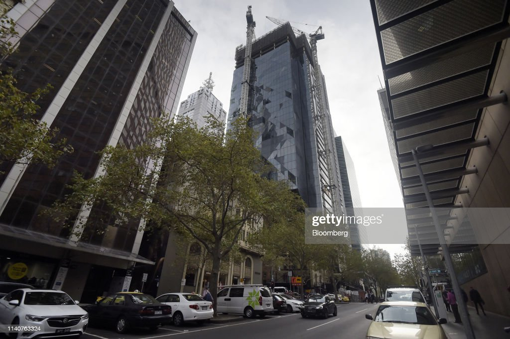Cranes operate at the under construction 80 Collins Street
