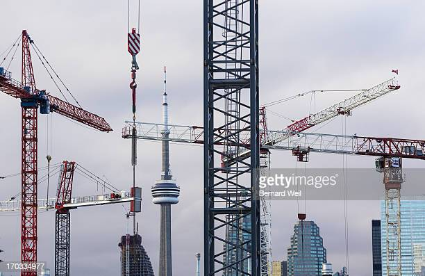 Cranes rise into the sky from the West Donlands area where Pan Am games athletes village will be For Rachel Mendleson story on what's happening...