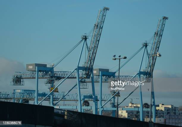 Cranes seen at the container terminal in Dublin Port. The first ferry arrived this morning at Dublin Port under new trade rules following the Brexit...