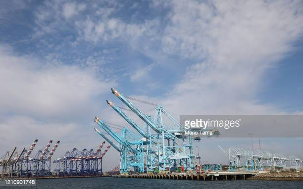 Cranes stand idle at the Port of Los Angeles which is the nation's busiest container port on March 6 2020 in San Pedro California The ports of Los...