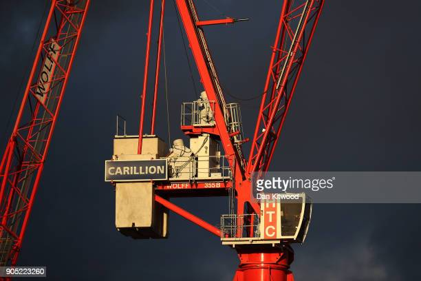 Cranes stand on a Carillion construction site near Temple on January 15 2018 in London England The company has announced it is to go into liquidation...