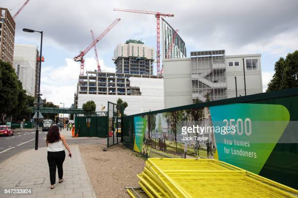 Cranes tower over a new housing development underway in Elephant and Castle on July 21 2017 in London England Over the last decade the landscape of...