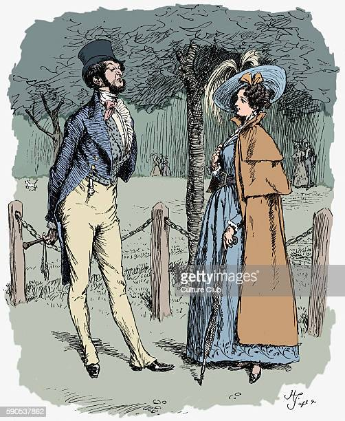 Cranford' by Elizabeth Gaskell Narrated by the charater Mary Smith Caption reads 'Mrs Ffaringdon and Mr Ffoulkes EG English novelist and and short...