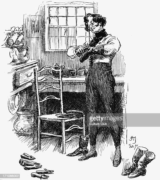 'Cranford' 'Cranford' by Elizabeth Gaskell. Narrated by the charater Mary Smith. Caption reads: 'No one could could black his boots except himself'....