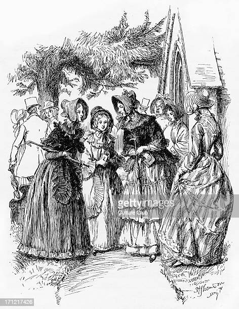 'Cranford' 'Cranford' by Elizabeth Gaskell. Narrated by the charater Mary Smith. Caption reads: 'We sedulously talked together'. . EG: English...