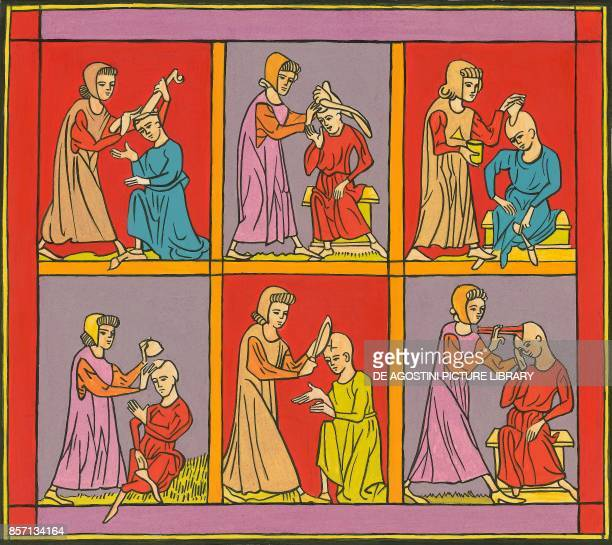 Cranial operations practiced in the 12th century illustration from a miniature from Practica Chirurgiae ca 1170 by Rogerius
