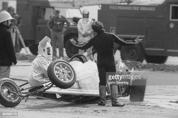 A crash at Pendine in South Wales during an attempt at the land speed record circa 1980