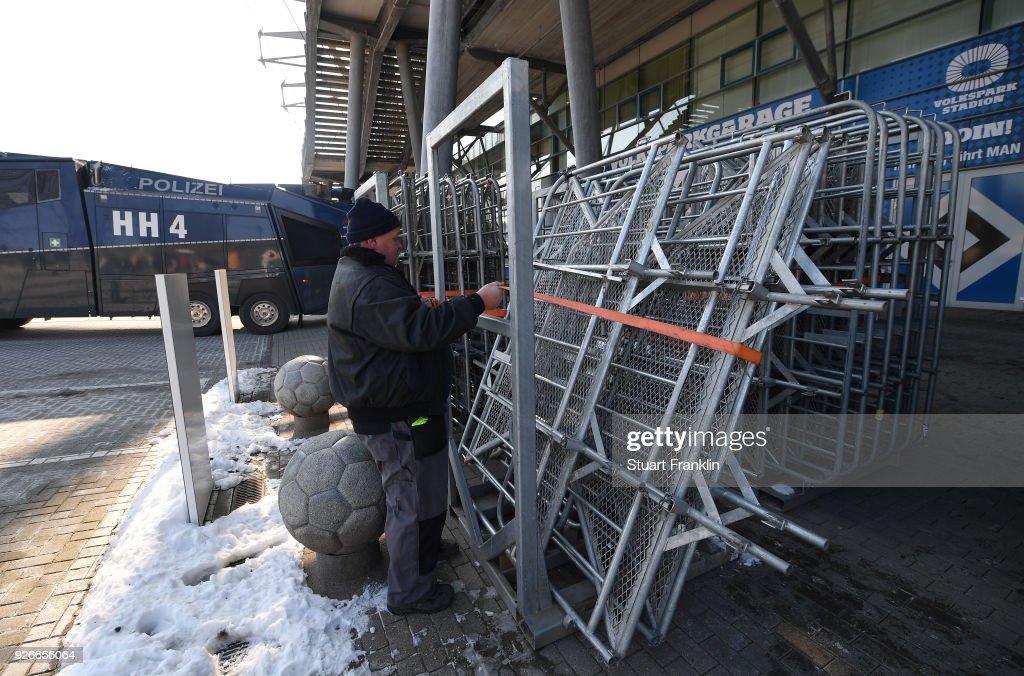 Crash barriers are prepare prior to the Bundesliga match between Hamburger SV and 1. FSV Mainz 05 at Volksparkstadion on March 3, 2018 in Hamburg, Germany.