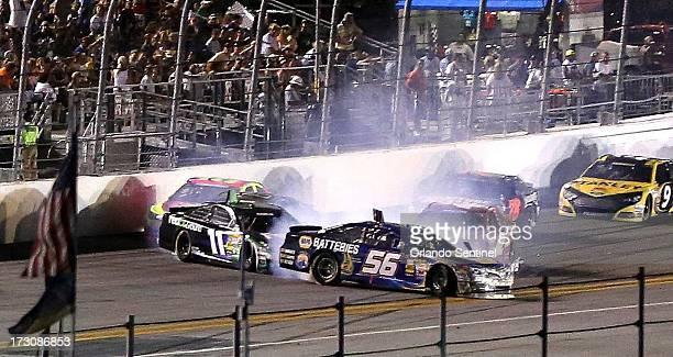 Crash coming out of Turn 4 on the 98th lap of the Coke Zero 400 at Daytona International Speedway on Saturday July 6 in Daytona Beach Florida