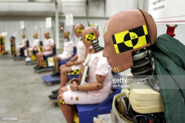 Crash dummies sit on display at General Motors' new $10 million crash testing center December 5 2006 in Milford Michigan GM announced that rollover...