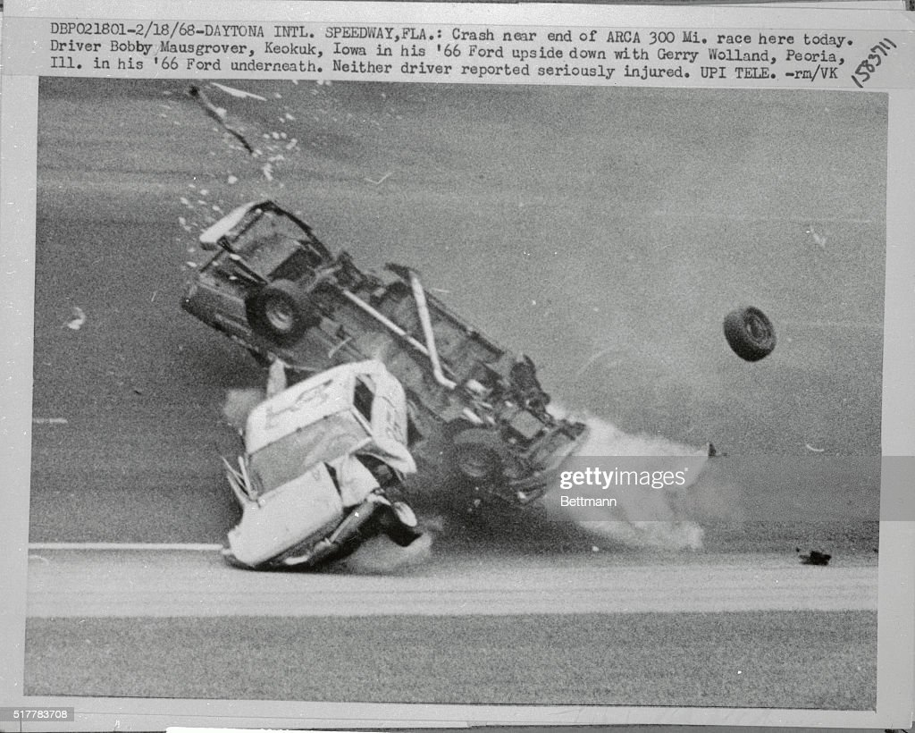 Crash near the end of ARCA 300 Mile Race  Driver Bobby