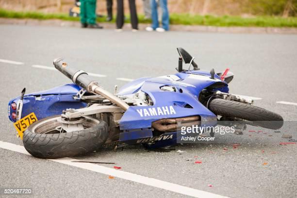 A crash on the A66 near Penrith, Cumbria, UK, involving a car and a motorbike