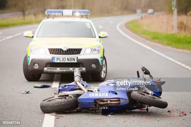 A crash on the A66 near Penrith, Cumbria, UK, involving a car and a motorbike.