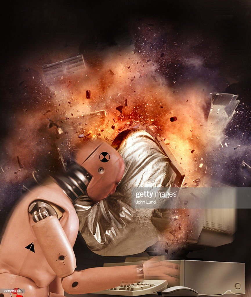 Crash test dummies with exploding computer (Digital Composite) : Foto de stock