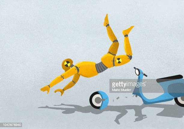 crash test dummy flying from broken motor scooter - crash test stock photos and pictures