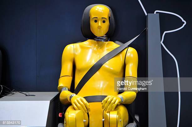 Crash test dummy is displayed during the Geneva Motor Show 2016 on March 2 2016 in Geneva Switzerland