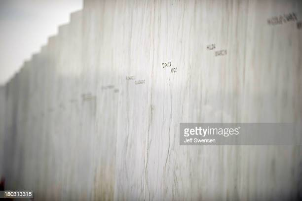 Crash victim Toshiya Kuge's name is displayed on the Flight 93 National Memorial following ceremonies commemorating the 12th anniversary of the 9/11...