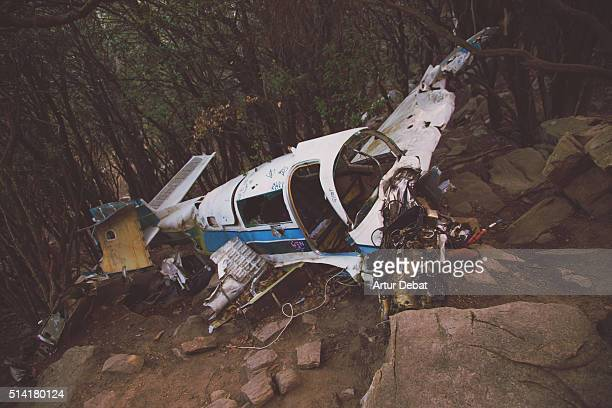 Crashed airplane in the middle of the woods in a aerial accident in the Montseny region.