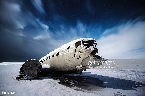 Crashed Airplane On Desert