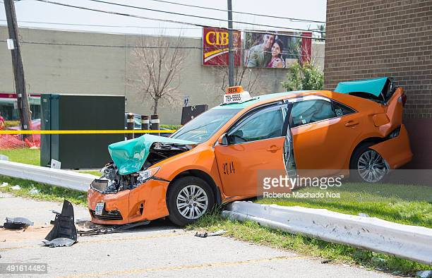 AVE TORONTO ONTARIO CANADA Crashed Beck Taxi in a parking lot accidentSmashed car after a road accident Violation of traffic rules lead to serious...