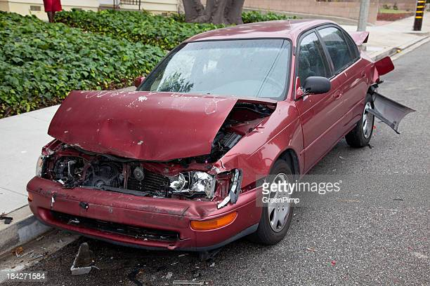 crashed car - green car crash stock pictures, royalty-free photos & images
