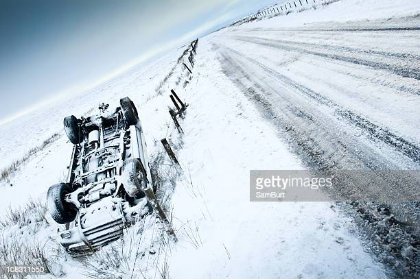Crashed Off Road Vehicle in the Snow