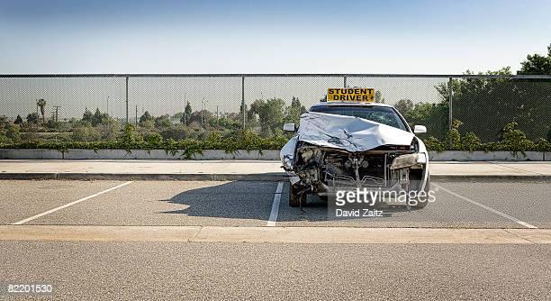 Crashed student driver car.