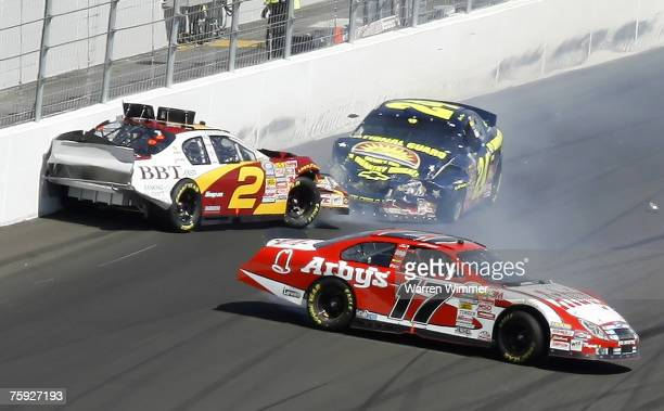 Crashes in turn took out several contenders of the Sam's Town 300 race at the Crown Jewel of race tracks the Las Vegas Motor Speedway Las Vegas...