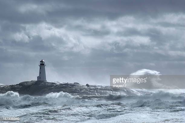 Crashing wave lighthouse