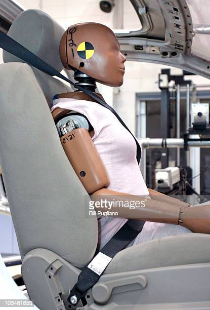 A crashtest dummy sits in a crashtesting sled at Takata's current crashtesting facility August 19 2010 in Auburn Hills Michigan Takata dedicated a...