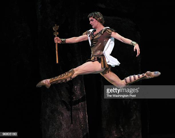 "Crassus, Leader of the Roman Army played by Alexander Volchkov leaps as he takes part in the dress rehearsal of ""Spartacus"" by the Bolshoi Ballet at..."