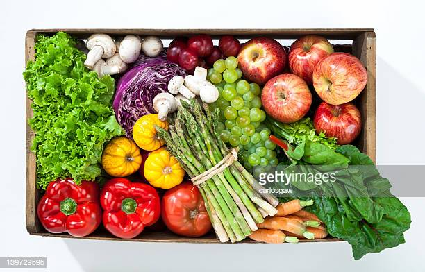 Crate filled with fruits and vegetables