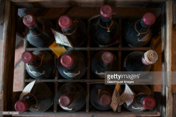 Crate of Old Wine Bottles, High Angle View