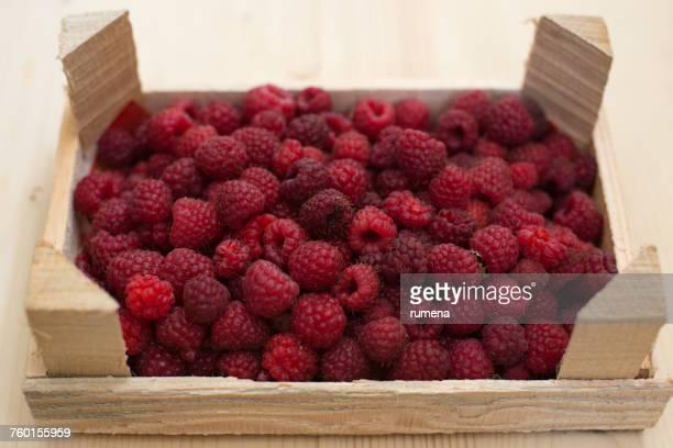 crate of raspberries - lampone mora di rovo foto e immagini stock