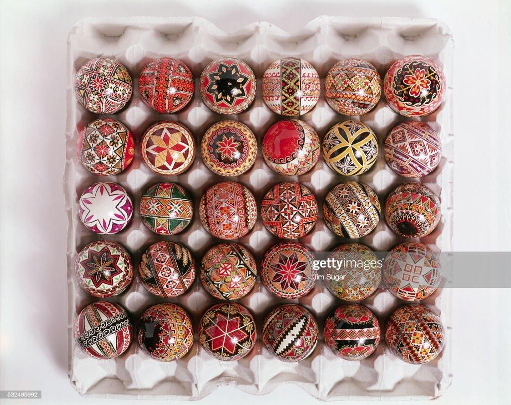 Crate of Ukrainian Easter Eggs : Stock Photo