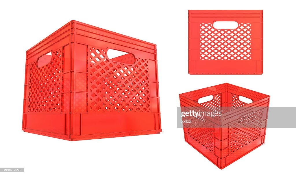 Crate plastic red container isolated on white background : Stock Photo