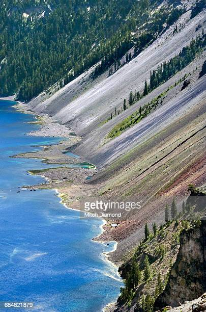 crater lake interior cliff - medford oregon stock photos and pictures