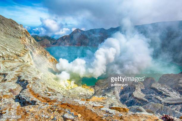 Crater Lake of Ijen volcano in East Java, Indonesia
