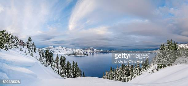 crater lake panorama - crater lake, or - bend oregon stock photos and pictures