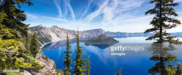 crater lake panorama - oregon stock photos and pictures